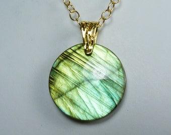 Large Labradorite Necklace, Super Flashy Large Luminous Labradorite Pendant, Brilliant Iridescent Golden Green and Aqua Flash, Gold Chain