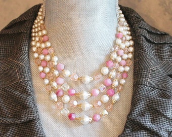 Vintage 1950s to 1960s Four Strand Pink and Faux Pearl Beaded Japan Necklace