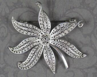 Vintage Scrolling Filigree Sterling Silver German Leaf Brooch