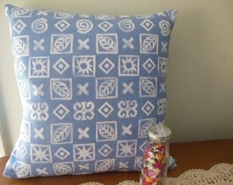 "Beach Blue and White Pillow Cover, 16"" X 16"", Throw Pillow, Nautical Theme Cotton Accent Pillow"