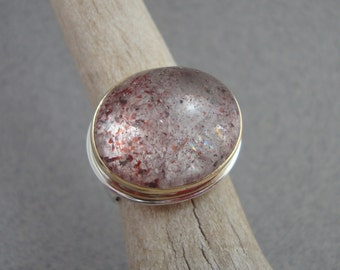 Strawberry Quartz Ring in 18k Gold and Sterling Silver, Bubble Statement Ring