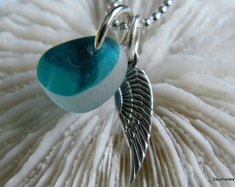 Sea Glass, Angel Wing, Angel Necklace, Silver Wing Angel Wing Pendant, Sea Glass Necklace