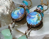 Blue mermaid cabochon image bead charm Picasso earrings Pamelia Designs Sacred Jewelry