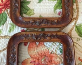 Vintage Ornate Carved Wood Frame Pair