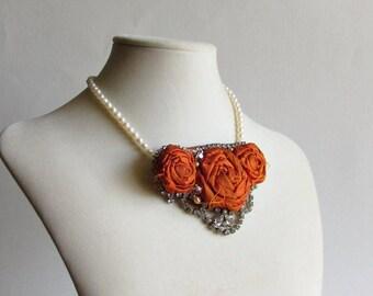 Dark Orange Silk Rose Necklace with Vintage Rhinestones - Silk Rose Statement Necklace - Wholesale Jewelry - Bib Necklace