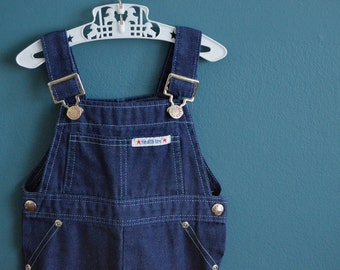 Vintage Toddler's Blue Denim Overalls by Health-tex - Size 18 Months