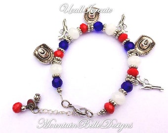 Red White and Blue Bracelet and Earring Set - Gifts for Her - Beaded Earrings - Beaded Bracelet - American Jewelry - Patriotic - Western