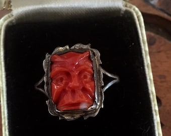 CIJ Christmas July SALE Beautiful old Rare Hand Carved Natural Red Coral Face Gargoyle Protector Sterling Silver Vintage Ring