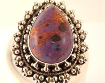 Beautiful BOHO Purple Turquoise Sterling Silver Vintage Ring