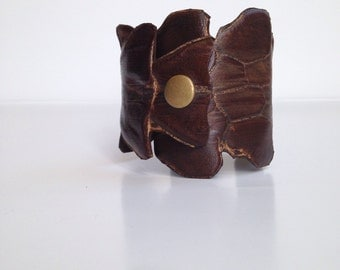 Brown leather vertabra wrist cuff 2, Post Apocalyptic, Burning Man, Leather Jewelry, Wasteland Leather, Tribal Fusion