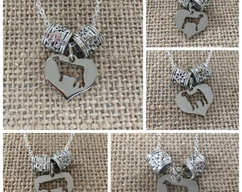 Livestock, Dairy Heart Charm with Floral Bead Necklace - Steer, Cow, Pig, Goat, Lamb