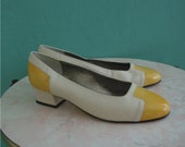vintage 80's yellow two tone flats // shoes size 8 size 39