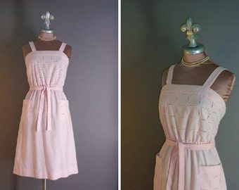 70s 80s dress 1970s 1980s vintage BABY PINK EYELET cotton fit and flare full skirt sun dress