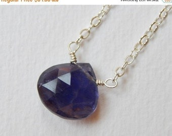 Iolite Briolette Necklace - Sterling Silver Beaded Sapphire Teardrop Pendant Necklace Beadwork Necklace