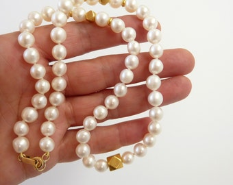 White Pearl necklace,  pearl gold necklace, 18K Gold pearl strand necklace - Fine Jewelry