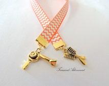 Bookmark, Hairstylist Bookmark, Antiqued Gold charms Orange Chevron Ribbon Bookmark , Gift  for Hairstylist,  Bookworm, scissors, hair dryer