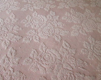 """Pink White Roses Pearls Hobnail Vintage Chenille Bedspread Fabric 24"""" x 30"""""""