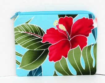 Small Zipper Pouch, Pink Hawaiian Hibiscus, Tropical Turquoise Blue Coin Purse