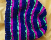 Dark blue navy pink lime green hippie slouch beanie hat