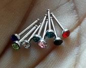 2 Random Colors - Stainless Steel Nose Studs, with Grade A Rhinestones