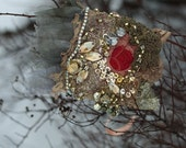 Principessa-- shabby chic bohemian wrist wrap with antique lace and beading