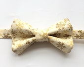 Little Guy BOW TIE - Shimmering Holiday Collection -Gold Snowflakes - (3T-6 years) - Boy Toddler (Ready to Ship) - Christmas