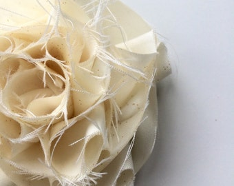 SWANKY Vintage Couture Fabric Flower - Ivory - (Made to Order) - Photo Prop - Spring Easter Wedding