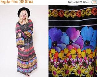 ON SALE 25% OFF Vtg 70s Groovy Gottex Sheer Flower Peasant Sleeves Hippie Boho Woodstock Striped Maxi Dress S/M/L