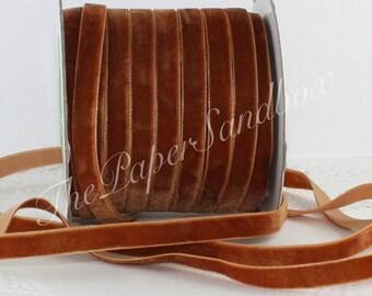"""Burnt Orange Velvet Ribbon, Copper Velvet Ribbon, 3/8"""" w by the yard, Pantone Burnt Orange, Velvet Chokers, Weddings, Sewing, Gift Wrapping,"""