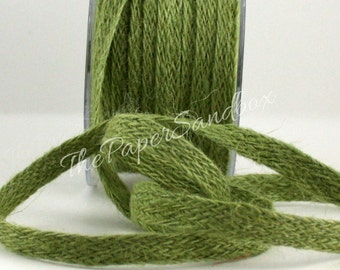 "Green Burlap Ribbon, 1/2"" wide by the yard, Green Jute Ribbon, Pantone Leaf Green, Gift Ribbon, Burlap Trim, Christmas, Party Supplies"