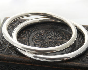 Antique Stacking Sterling Silver Bangle Set | Upper Arm Flapper Bangles | Adie & Lovekin | 1922 Hallmarks English Sterling Pair of Bracelets