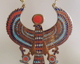 Vintage Egyptian Firebird Necklace. Egyptian Revival Phoenix Necklace.  Enamel Bird Necklace.