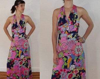 Sales SALE Vintage 1960s Floral Halter Summer Maxi Dress /  Psychedelic Hippie Gypsy Print Dress / Small Halter Dress