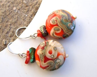 Lampwork Earrings, Handmade Glass Beaded Jewelry, Color of Love is Red for Valentine's Handmade Jewelry Gift