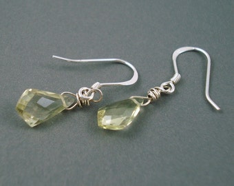 Lemon Quartz Earrings with Sterling Silver