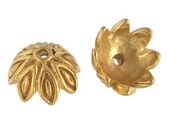 New! TWO Bali Gold Vermeil Engraved Leaf Bead Caps, 5.5mm x 9.5mm (bright gold finish), Artisan-made jewelry supplies, earrings