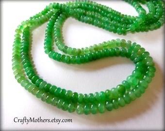 Green CHRYSOPRASE Smooth Rondelles, 2 inch strand, 3.6-3.9mm diameter, rare natural gemstones
