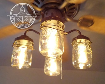 Mason Jar Ceiling Fan LIGHT KIT ONLY with Vintage Pints - Farmhouse Lighting Fixture Chandelier Pendant Flush Lamp Mount Track by LampGoods
