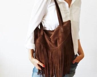Fringes suede BROWN Leather tote bag - Shoulder Bag -Every day leather bag - Women bag