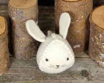 spring seasonal: hand-stitched wool felt bunny by kata golda