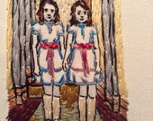 Embroidered Shining Twins Stanley Kubrik and Stephen King Homage  - Framed (Plexi)  Matted and Hand Stitched