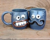 Valentines Day Mr and Mrs Mug Gift Set. His and Hers Coffee Cup Pair. Couples Ceramic Mugs. Blue Coffee Cups. Man and Woman Face Mugs.