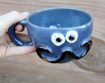 Traditional Mans Mustache Mug. Blue Coffee Cappuccino Cup. Stoneware Pottery Soup Mug. Mans Teacup. His Funny Mustaches Guys Face Mug.