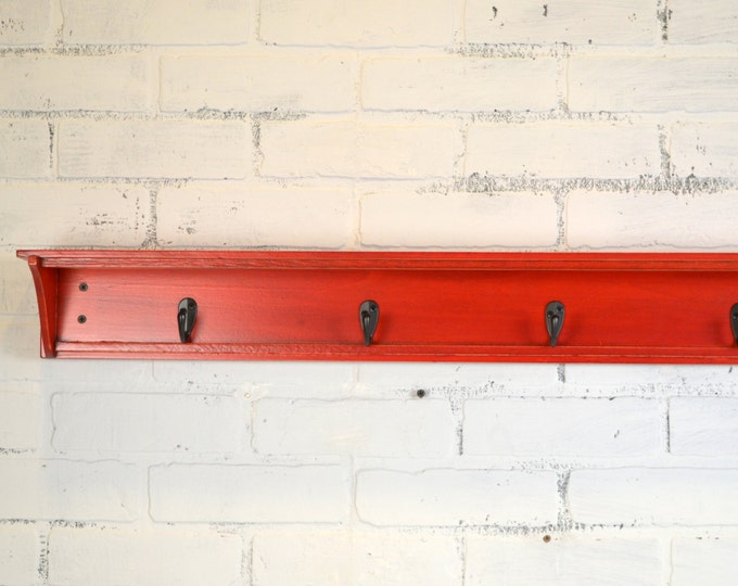 Handmade 30 inch Long One Level Coat Rack - Wall Shelf with Vintage Red Dye Finish and Four Hooks - IN STOCK - Same Day Shipping