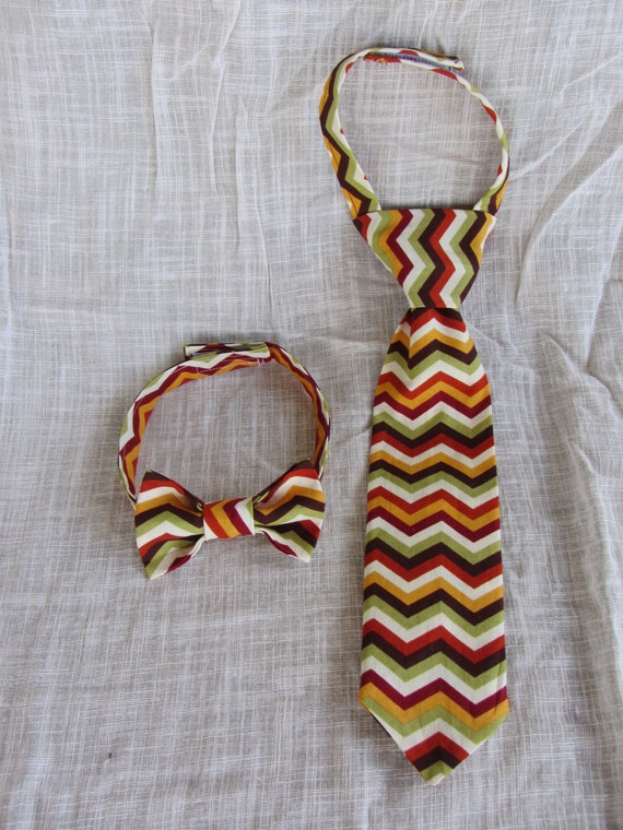 Little Guy Boys Necktie Tie Bowtie Fall Chevron - Baby boy, Infant, Toddler - Baby Shower Gift- Neutral
