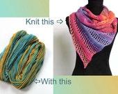 Handknit a Handspun Shawl/Scarf  Gift Kit, DIY Knit Kit, Noosa River