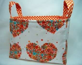 PK Fabric Basket in Hearts and Flowers in Apricot - Storage Basket - Diaper Caddy - Ready To Ship - Reversible