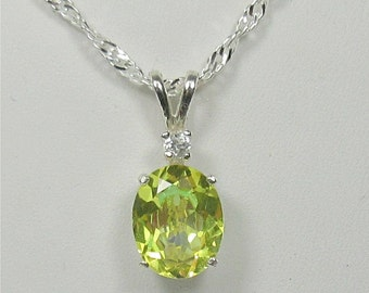 Yellow Mystic Topaz 10x8mm Sterling Silver Gemstone Necklace