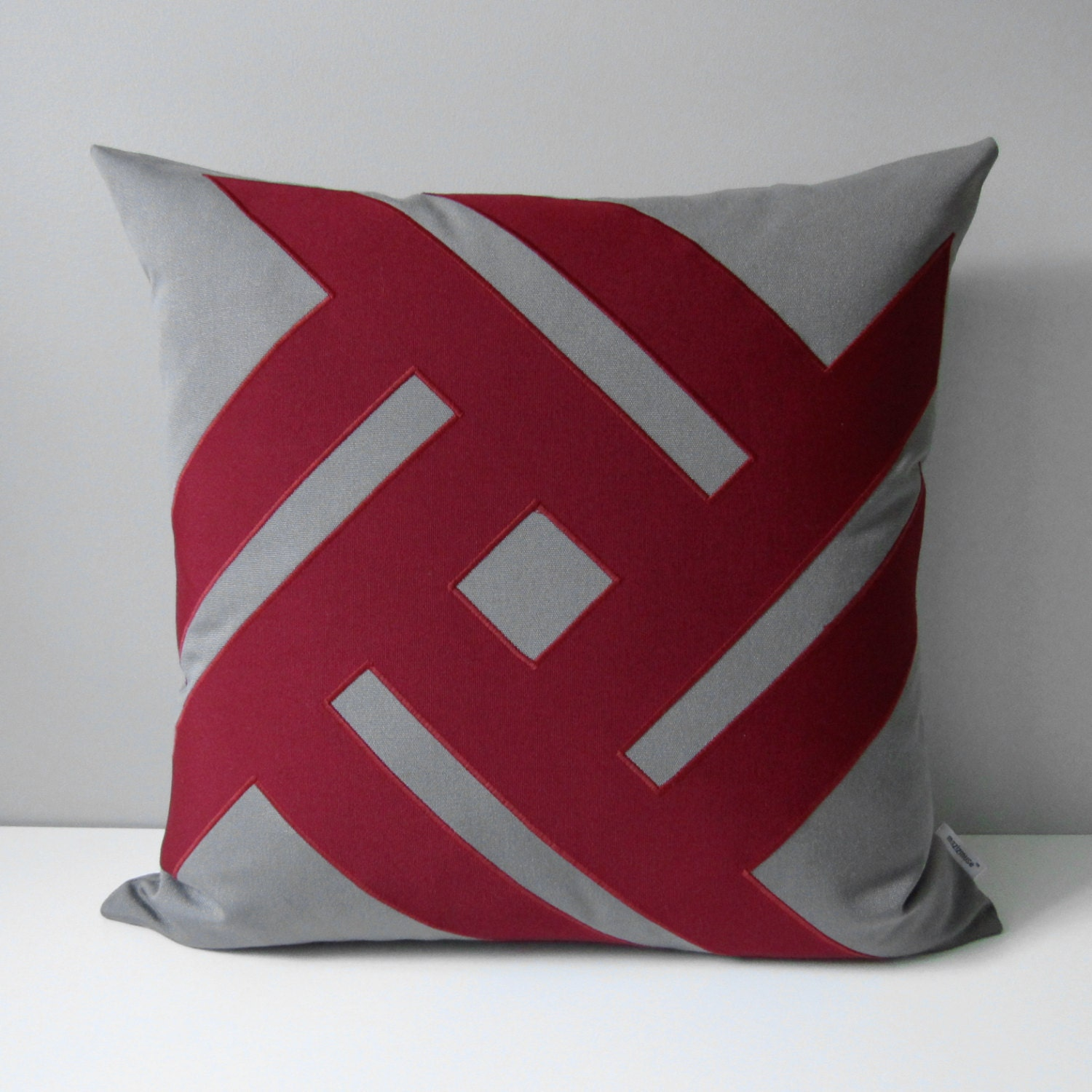 Grey & Burgundy Outdoor Pillow Cover Modern Geometric Pillow