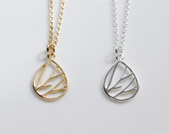Teardrop necklace, gold pendant, sterling silver charm, branch necklace, gift for her, modern, geometric, simple jewelry - Cynara